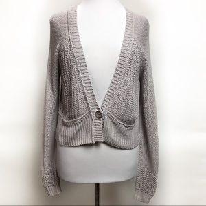 Free People Chunky Cardigan Sweater Open Knit Crop